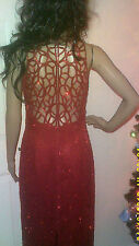 SCALA SIZE LARGE RED BEADED SEQUIN CAGED PARTY PROM COCKTAIL FORMAL DRESS