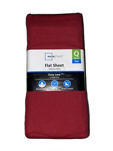 Mainstays Flat Sheet red Queen Easy Care 300 Thread Count!