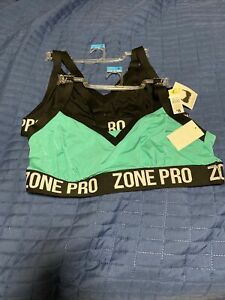 Zone Pro Black Sports Bra, 3X. Nwt Set Of 2