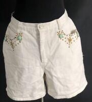 VTG No Excuses Denim Mom Jeans Shorts Beads Studs Off White High Waist 15-16