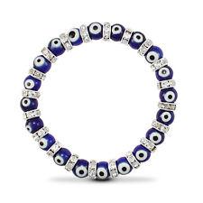 Pendientes de plata esterlina, circonia cúbica 6mm azul mal de ojo pulsera elástica * djbt 685