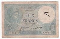 Billet 10 francs Minerve 1932 TB+