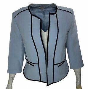 Kasper Women's Petite Collarless Contrast Piped Jacket Light Blue Black Size 16P