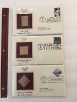 Gold Foil Replica Stamps ~ Historic & Others ~ Set of 6 ~ First day of issue