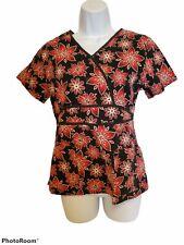 New listing V Life Womens Scrub Top Shirt Size Xs Black Floral Medical Vet
