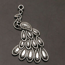 4 PCS Peacock Tibet Silver Charms Pendants Crafts Jewelry Findings
