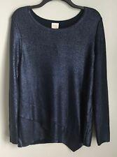 New Chico's 2 Blue Shiny Sweater Metallic Long Sleeve Asymmetrical Large