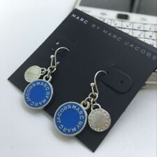 New Marc by Marc Jacobs Blue Enamel & Silver Logo Charms Hook Dangle Earrings