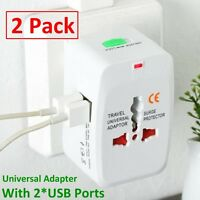 2X World Universal Travel Adapter with USB Convertor wall Plug Power US UK AU EU