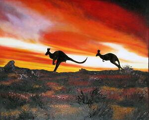"Australia outback painting  Art Print  canvas Framed Kangaroo Sunset 24"""