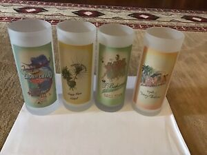 Tommy Bahama Lot of 4 High Ball Frosted Glasses Tropical Tumblers
