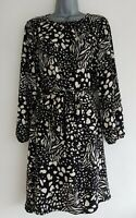 DOROTHY PERKINS Women's Black/Cream Patterned Belted A-Line Dress. Size UK 14.