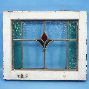 """16""""x18"""" Antique American STAINED GLASS WINDOW Multi-Color Wood Frame Floral"""