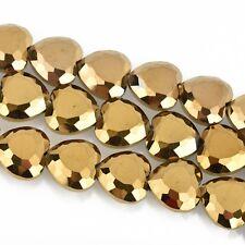 22mm Heart Beads Crystal OPAQUE GOLD METALLIC, 14 beads, bgl1636