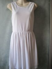 Cotton On Rayon Blend White Ribbed/Striped Elastic Waist Lined Tank Mini-Dress S