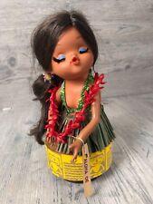 VTG Hawaii Tiki Hula Girl Doll Rotating Musical Toy Aloha Oe Eyelashes Kitsch