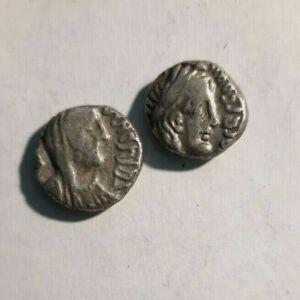 NABATAEAN KINGDOM. ARETAS IV & SHAQUELAT SILVER DRACHM