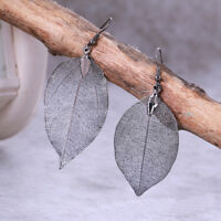 Ohrringe Schwarz Natural Leaf Anhänger Echtes Blatt Unikat Blattohrringe WOW