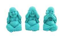 Set of 3 Aqua / Blue 10cm Hear See Speak No Evil Buddha Monk Ornaments