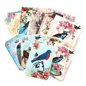 SALE- Bird Vintage Style Post Cards-Bird Tags- Junk Journal Ephemera
