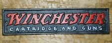 Cast Iron Winchester Cartridge and Guns Plaque Sign Rustic Ranch Wall Decor