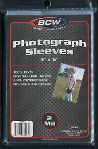100 BCW 4 x 6 Photo Protective Sleeves