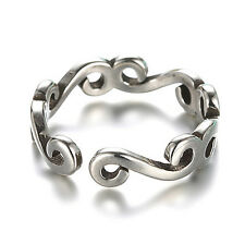 925 Sterling Silver Plated Women Mens Classic Jewelry Ajustable Party Band Ring