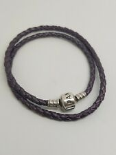 PANDORA Purple DOUBLE WOVEN LEATHER BRACELET BARREL CLASP 4O
