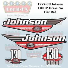 1999-00 Johnson 130 HP OceanPro Fire Red Outboard Repro 4 Pc Marine Vinyl Decal