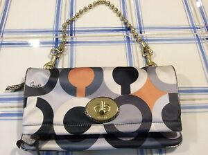Amanda Foldover Clutch Coach Handbag NWT Brass Bead chain Geometric Pattern