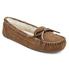 Women's Suede Chaia Moccasin Slippers Chestnut Brown Size 6 Rubber Sole Faux Fur