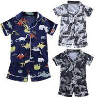 Toddler Kids Baby Boys Girls Summer Pajamas Sleepwear T shirt Shorts Clothes Set