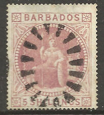 BARBADOS 1873 5/- dull rose very fine used - 98593