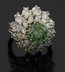 Heavy Platinum 7.76CT VS Fancy Green diamond cluster Ballerina ring size 7