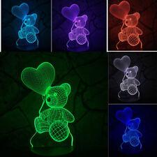 Baby Kid Night 3D LED Lighting Sensor Bear Heart Balloon LED Lamp Atmosphere