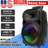 "8"" 1,000W Portable FM Bluetooth Speaker Subwoofer Heavy Bass Party System AUX US"