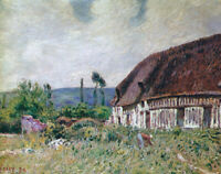 Farmhouse Alfred Sisley Wall Art Painting Print Reproduction on CANVAS Giclee SM