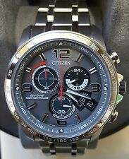 NWT $695 Citizen Eco-Drive Chrono Atomic Radio Controlled Men's Watch BY0100-51H