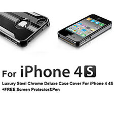 Ultra Slim Steel Chrome Deluxe Cover Case For iPhone 4 4S +Screen Protector +Pen