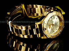 NEW Invicta Men Pro Diver 24 Jewels Automatic 18K Gold Plated SS Champagne Watch