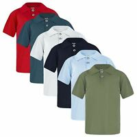 KIDS BASIC PIQUE POLO SHIRT BOYS GIRLS  SHORT SLEEVE TOP CASUAL T SHIRT AGE 1-16