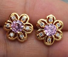 18K Yellow Gold Filled - Hollow Flower Pink/White Topaz Women Gemstone Earrings