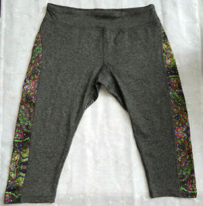 LuLaRoe Simply Comfortable Jade Workout Capri Pants - size XL Dark Gray & Multi