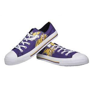 Minnesota Vikings Mens Big Logo Low Top Canvas Shoes Sneakers - 10 & 8 - NIB