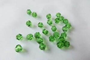 40 x 4mm Crystal Cut Glass Bicone Beads: BNCC09 Green