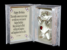 Personalised Birthday Crystal Teddy bear Card gift your own message CD10