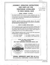 Sears Craftsman  Radial Arm Saw Manual No.113.29410