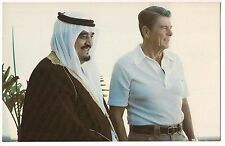 RONALD REAGAN Crown Prince FAHD Saudi Arabia POSTCARD Cancun Summit Mexico 1981