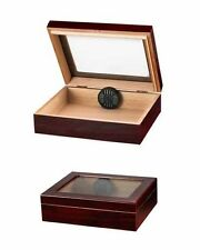 20 Cigar Travel Humidor with Humidifier Glass Top Cherry Finish TR20G-C