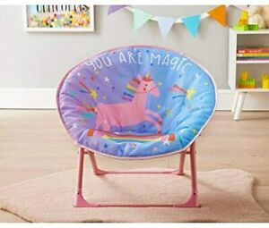 Childrens Folding Moon Chair Fold Up Seat Seating Bedroom 54 x 47cm - Unicorn